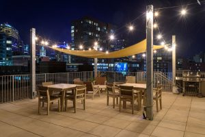 rooftop recreational area at night