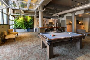 indoor recreational area with pool table